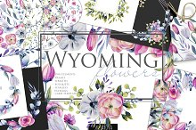 Wyoming flowers. Watercolor clipart. by  in Illustrations