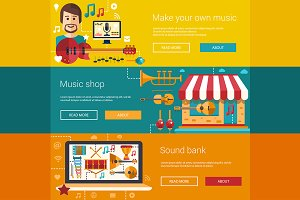Music Flat Design Banners Set