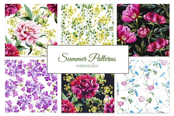 Watercolor summer floral patterns