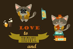 Set of funny cats travelers
