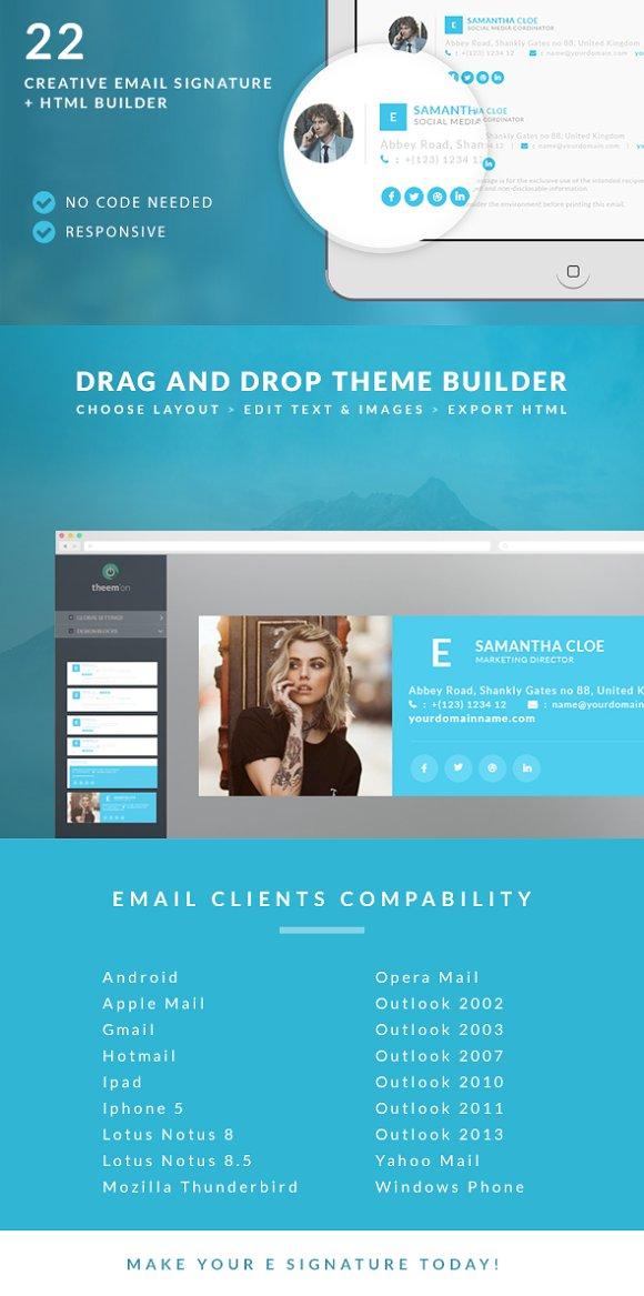 Responsive Email Signature Builder Email Templates Creative Market