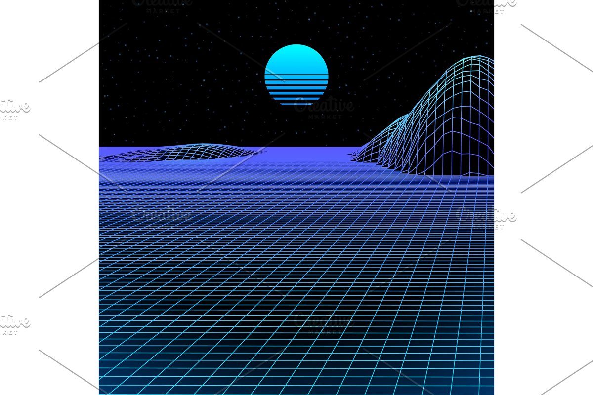 Landscape with wireframe grid of 80s
