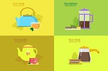 Tea design concept set