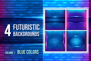 4 futuristic backgrounds - blue