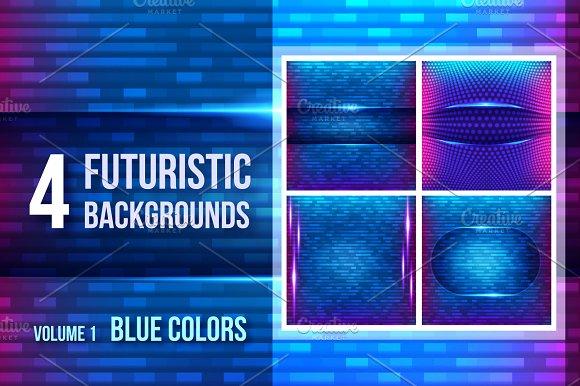 4 futuristic backgrounds - blue
