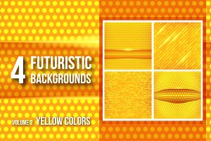 4 futuristic backgrounds - yellow