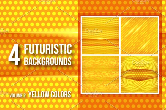 4 futuristic backgrounds - yellow