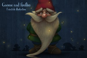 Gnome and fireflies