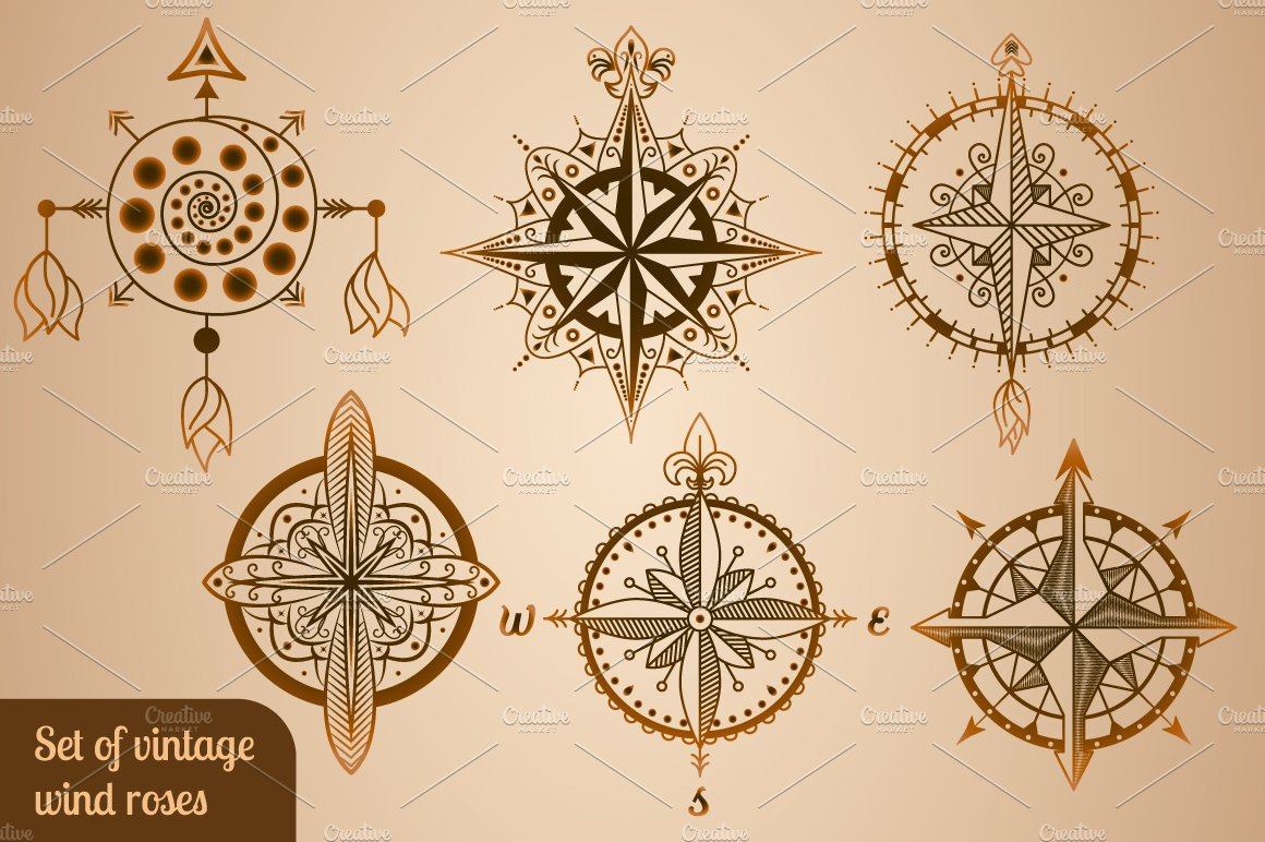 Set of vintage wind roses, compasses ~ Graphic Objects ...