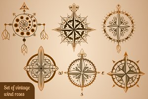 Set of vintage wind roses, compasses