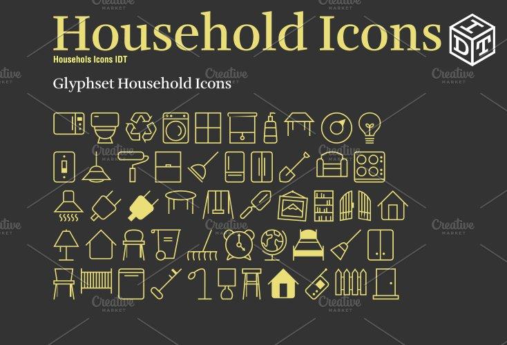 Household Icons Fontweb Fontfree Symbol Fonts Creative Market