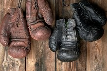 leather vintage boxing gloves by  in Sports