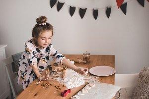 Cooking girl indoors