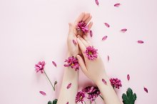 Female hands with purpure flowers by  in Beauty & Fashion