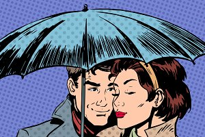 Rain man and woman under umbrella