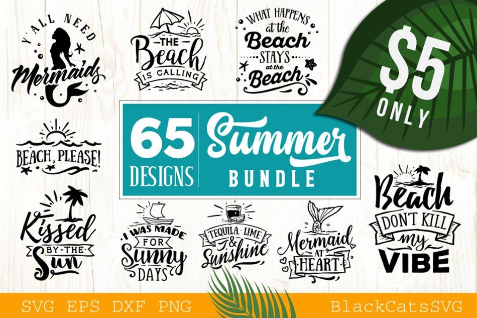 Summer Svg Bundle 65 Designs Pre Designed Illustrator Graphics Creative Market