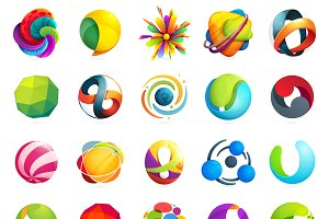 25 sphere logos set