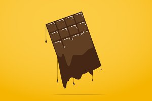 Melted chocolate bar icon.