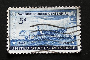 Vintage stamp swedish pioneers