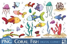 CORAL FISH - Digital Clipart