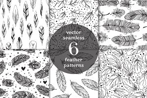 6 Feather seamless patterns