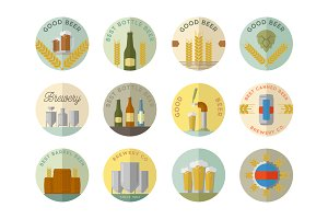 Vector flat beer badges.
