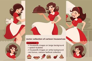 retro cartoon housewives