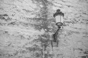 Lamp in old building. BW