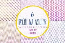 Watercolor patterns, 6 digital paper