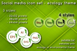 Social media icons - ecology theme