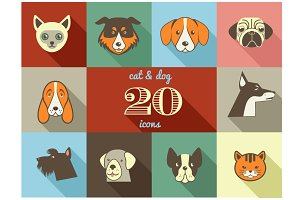Dogs & Cats flat vector icons set