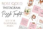 Instagram Puzzle Template -Rose Gold