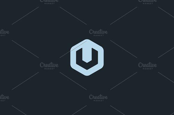 Abstract letter V U logo