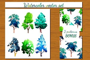 Watercolor vector Tree