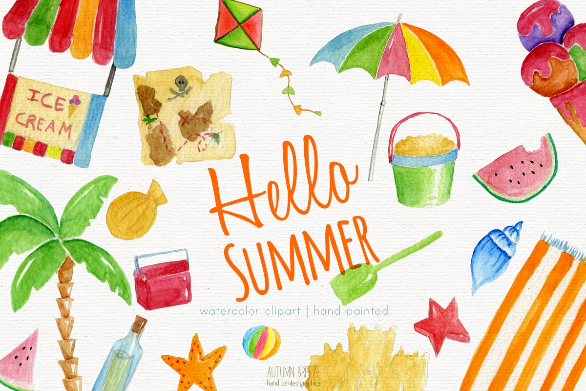 Food summer. Watercolor clipart