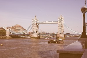 Vintage Tower Bridge in London
