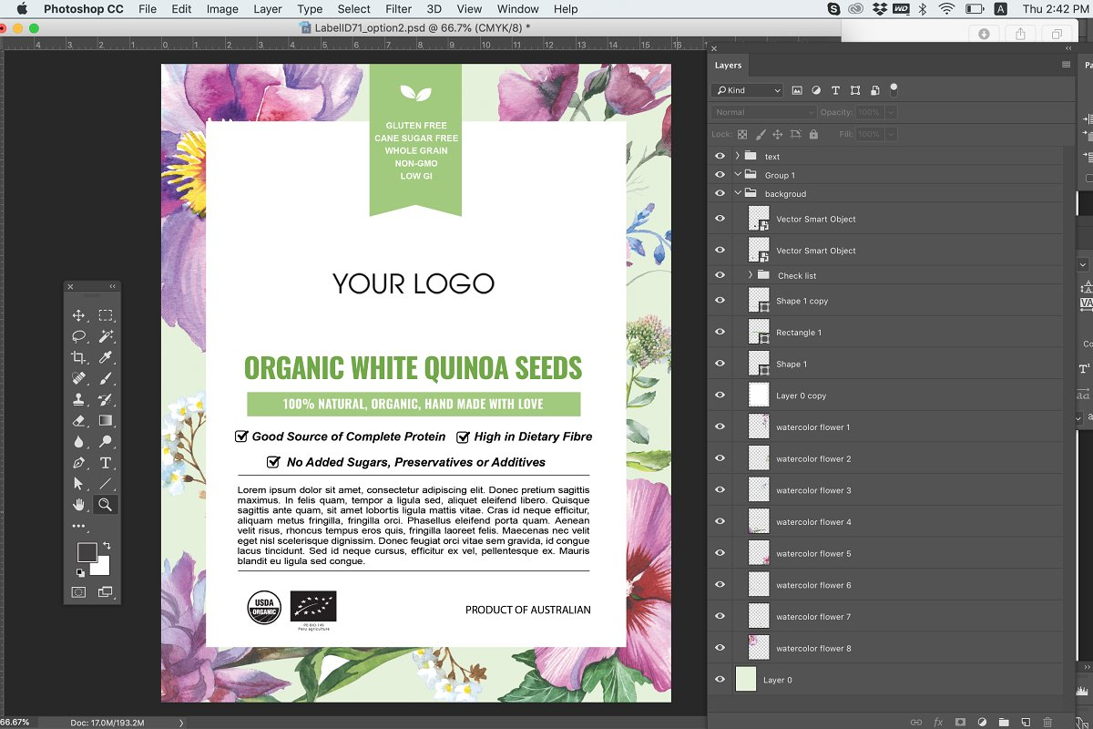 Bag or Pouch Label Template ID71