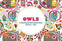 Cute owls seamless background