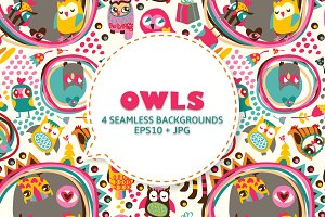 Cute owls seamless background