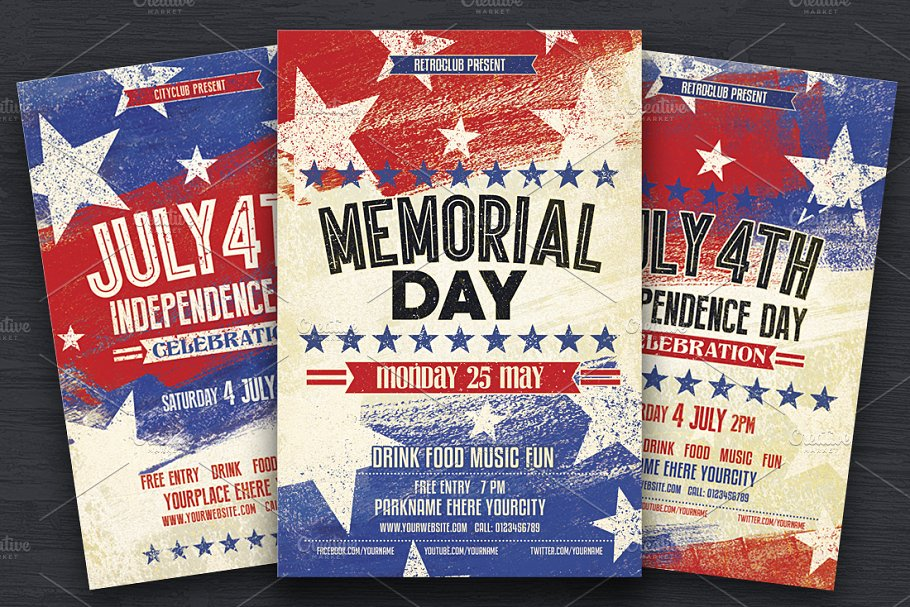 july 4th memorial day flyers flyer templates creative market pro