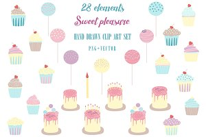 Sweat pleasure. Cakes clip art set