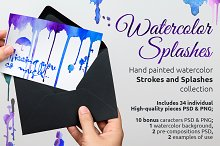 Watercolor Splashes and Strokes
