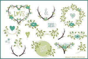Hearts,Wreaths, Laurels Vector