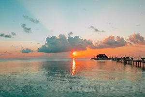 Beautiful colorful sunset in tropica