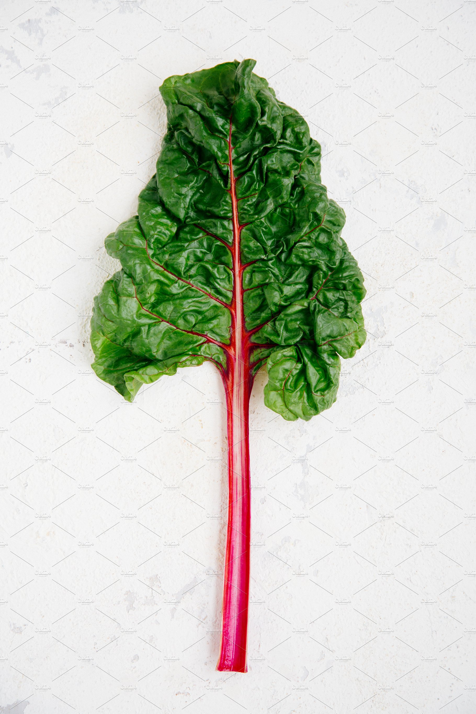 Swiss Chard Leaf With Purple Stem High Quality Food Images Creative Market