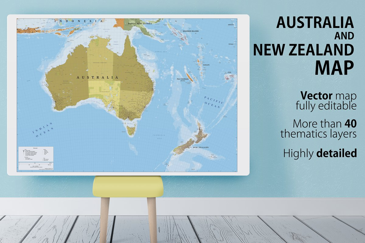 Australia and New Zealand map ~ Illustrations ~ Creative Market