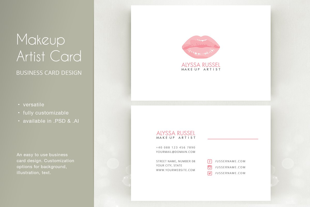 062255e9f1a07 Makeup Artist - Business Card