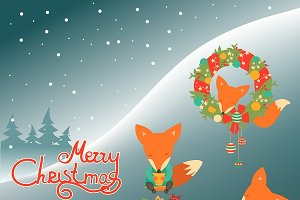 Cute fox celebrating Christmas