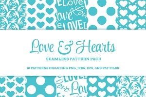Love & Hearts 10 Seamless Patterns
