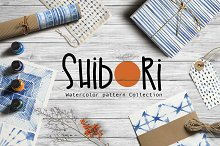 Shibori indigo watercolor collection